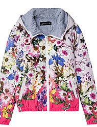 Women's Floral Pink Padded Coat,Simple Hooded Long Sleeve