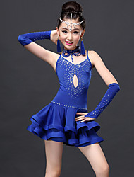 Latin Dance Dresses Children's Performance Spandex / Lace / Viscose Draped 5 Pieces Gloves / Dress / Neckwear / ShortsDress length