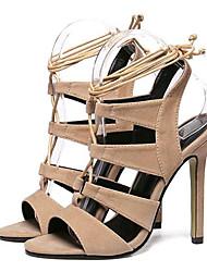 Zapatos de mujer-Tacón Stiletto-Tacones-Sandalias-Fiesta y Noche-Vellón-Negro / Almendra