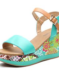 Aokang® Women's Boho Wedge Heel Leather Sandals (green) - 342823002