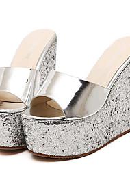 Women's Summer Wedges / Heels Leatherette Outdoor / Casual Wedge Heel Sequin Silver / Gold