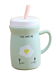 Matte Surface Drinking Straw Ceramic Mug Cup(Random Color)
