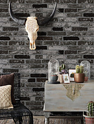 HaokHome®  Vintage Faux Stone Textured Wallpaper Black/Dk.Grey 3D Brick Realistic Paper Room Decoration Wall Covering
