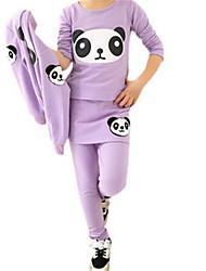 Three Pcs Panda Cute T Shirt Jacket Girls Pantskirt Suit