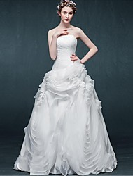 A-line Wedding Dress Floor-length Strapless Organza with Draped