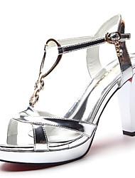 Women's Shoes Leatherette Stiletto Heel Heels / Peep Toe Sandals Wedding / Party & Evening / Dress Blue / Silver
