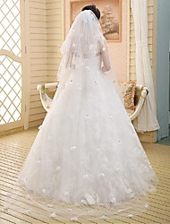 Wedding Veil Three-tier Cathedral Veils Cut Edge / Lace Applique Edge