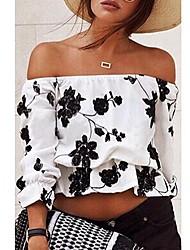 Women's Print White Blouse,Strapless ¾ Sleeve
