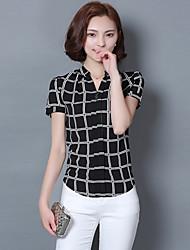 Women's Check White / Black Blouse,V Neck Short Sleeve