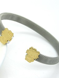 Cute Cat Stainless Steel Net Cuff Bangle