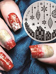 2016 Latest Version Fashion Pattern House And Christmas Gift Nail Art Stamping Image Template Plates