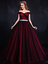 Formal Evening Dress Ball Gown Off-the-shoulder Floor-length Tulle with Draping