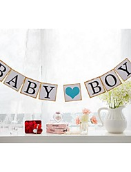 Cute Baby Boy with Blue Heart Banner Birthday Party Baby Shower Hanging Garlands