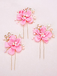 Women's / Flower Girl's Pearl / Rhinestone / Alloy / Resin Headpiece-Wedding / Special Occasion Hair Pin 2 Pieces