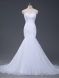 Fit & Flare Wedding Dress Court Train Sweetheart Organza with Criss-Cross