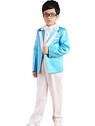 Boy's Cotton All Seasons Performing Arts Formal Suit Coat Pants Waistcoat Bow Tie Belts Five Piece Clothing Set