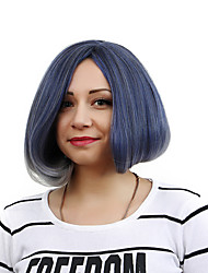 Women 12inch Straight Lady Fluffy Medium Side Synthetic Hair Wigs Light Blue Black 2 Tone with Free Hair Net