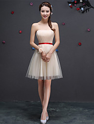 Short / Mini Tulle Bridesmaid Dress - A-line Sweetheart with Sash / Ribbon