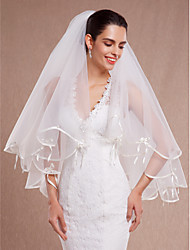 Wedding Veil Two-tier Elbow Veils Ribbon Edge/Scalloped Edge