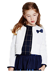 Girl's White Jacket & Coat,Bow Cotton Winter