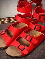 Women's Summer Gladiator PVC Casual Flat Heel Black / Red / White