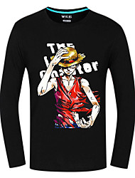 Inspired by One Piece Monkey D. Luffy Anime Cosplay Costumes Cosplay Tops/Bottoms Print Black Long Sleeve Top