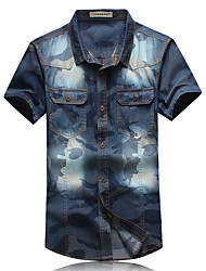 Men's Fashion Print Slim Fit Short Sleeve Denim Shirt, Cotton / Polyester/ Casual / Plus Sizes /Print