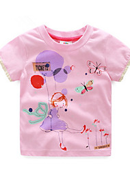 BK   3-6 Y Girls Summer Cartoon Cute Cotton O-neck Short-sleeved T-shirt Tee