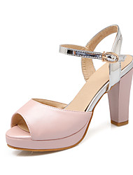 Women's Shoes Leatherette Spring / Summer Heels / Peep Toe Wedding / Dress Chunky Heel Blue / Pink / White