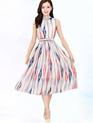 De las mujeres Corte Swing Vestido Simple Estampado Midi Escote Chino Poliéster