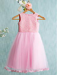 Lanting Bride Ball Gown Knee-length Flower Girl Dress - Lace / Tulle Sleeveless Jewel with