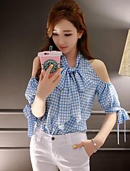 DABUWAWA® Damen V-Ausschnitt 1/2 Länge Ärmel Shirt & Bluse Hellblau-D15BST080