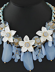 Women's Boutique Fashion Jelly Color Flowers Water Droplets Statement Necklace