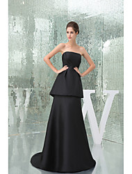 Formal Evening Dress A-line Strapless Sweep / Brush Train Taffeta with Draping