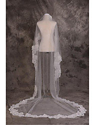 Wedding Veil One-tier Cathedral Veils Cut Edge / Lace Applique Edge Tulle / Lace White White