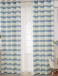 Two Panels Morden Stripe Living Room Polyester Panel Curtains Drapes