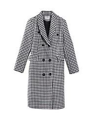 Women's Check White Pea Coats,Simple Long Sleeve Nylon