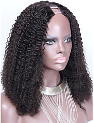Mongolian Afro Knky Curly U Part Wig Human Hair Wig 100% Virgin U Part Wig 1''x3'' Inch Middle Part For Black Women
