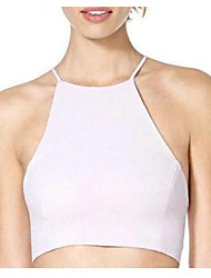 Women's Solid White T-shirt,Halter Sleeveless