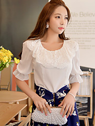 DABUWAWA® Women's Round Neck 1/2 Length Sleeve Shirt & Blouse White-D15BST118