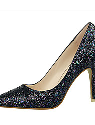 Women's Shoes Fleece Chunky Heel Heels Heels Casual Black / Pink / Purple / White / Silver / Coral
