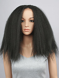 Fashion Synthetic Wigs Lace Front Wigs 16inch Kinky Straight  Black Heat Resistant Hair Wigs Wome