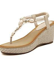 Women's Shoes PU Wedge Heel Wedges Sandals Outdoor / Casual Black / Beige