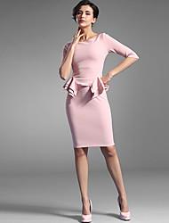 Baoyan® Damen Rundhalsausschnitt 1/2 Ärmel Über dem Knie Kleid-150896