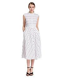 Goelia® Women's Striped Crew Neck Sleeveless Pocket Dress(beige)-165W4A36B
