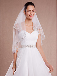 Wedding Veil Two-tier Fingertip Veils Beaded Edge Tulle White / Ivory