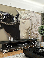 JAMMORY Art Deco Wallpaper Contemporary Wall Covering,Other Large Black and White Mural Wallpaper Embossed Horse