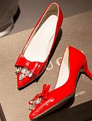Zapatos de mujer-Tacón Stiletto-Tacones-Tacones-Boda / Oficina y Trabajo / Fiesta y Noche-Semicuero-Negro / Rojo