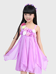 Girl's Green / Pink / Purple / White Dress,Floral Polyester Summer / Spring