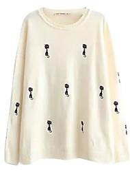 Damen Pullover - Einfach Baumwolle Dünn Langarm